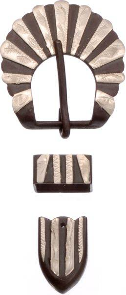 Antique Brown Buckle, Tip and Keepers