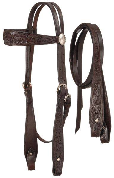 Fully Carved Brow Headstall with Reins