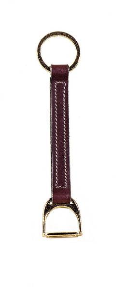 TORY LEATHER Brass Stirrup Strap Key Ring
