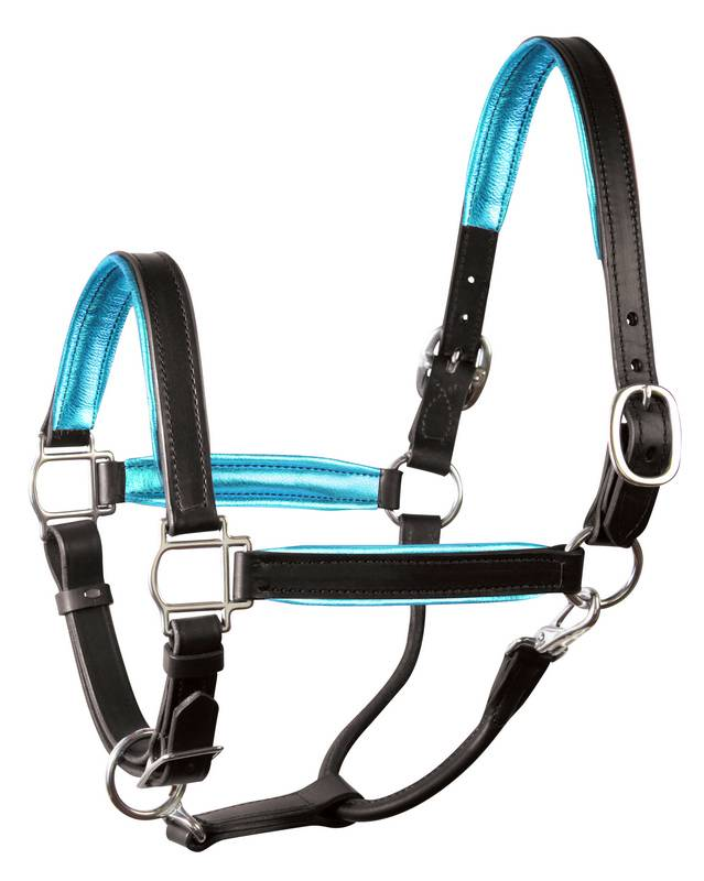 Perri's Soft Metallic Padded Leather Halter - FREE Perri's Leather Potion 0.75 oz.