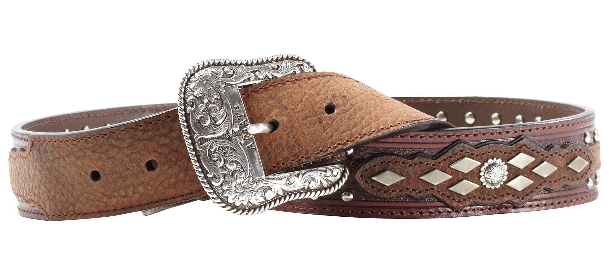 Ariat Men's Austin Belt with Tooled Shaped Billets