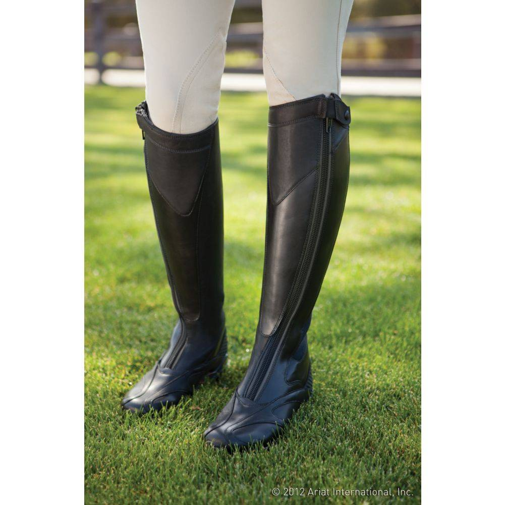 Ariat Ladies Volant Front Zip Black Calf Tall Boots