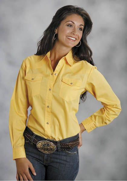 Roper Poplin Western Shirt - Ladies, Yellow