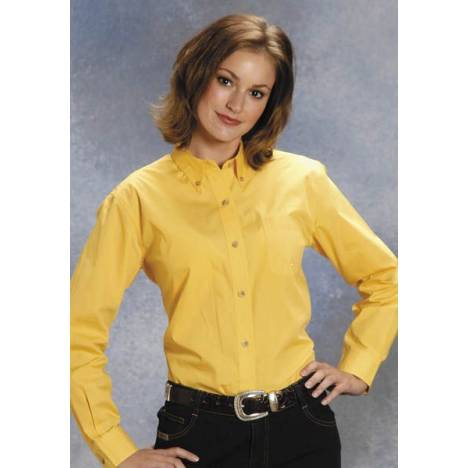Roper Ladies Button Down Collar Western Shirt - Yellow