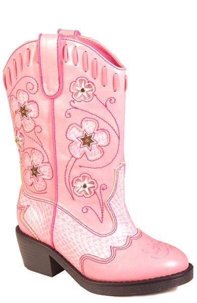 Roper Faux Leather Star Lights Boots - Toddler, Pink
