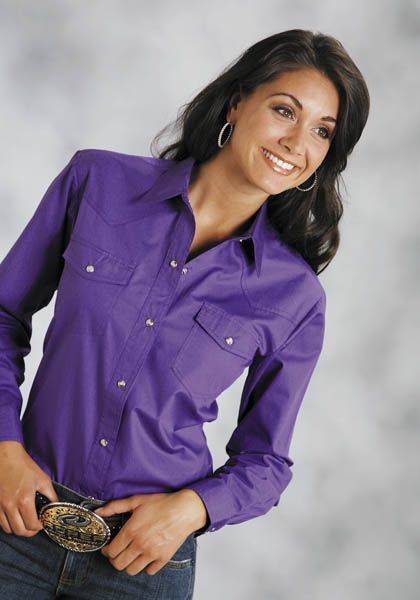 Roper Ladies Poplin Long Sleeve Shirt - Purple
