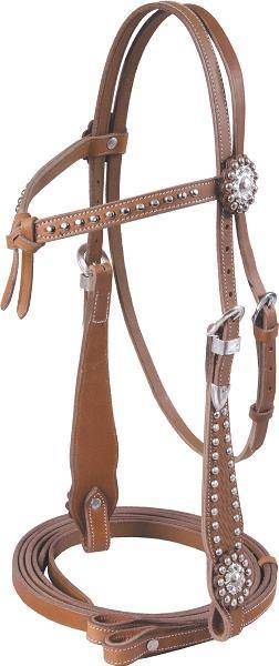 Cowboy Pro Knotted Brow Headstall With Reins