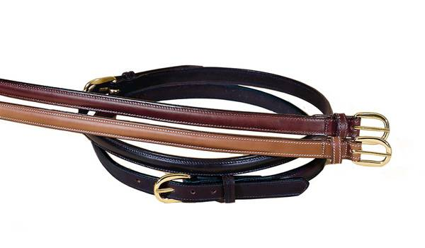 TORY LEATHER 3/4'' Raised Leather Belt with Sewn Buckle