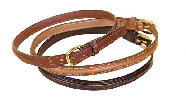 TORY LEATHER 3/4'' Raised Center Belt with Brass Buckle