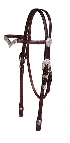 Tory Leather 5/8'' V Brow Headstall, Oklahoma Engraved Silver Trim