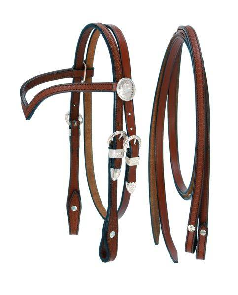 King Series Miniatureature V Browband Headstall with Silver