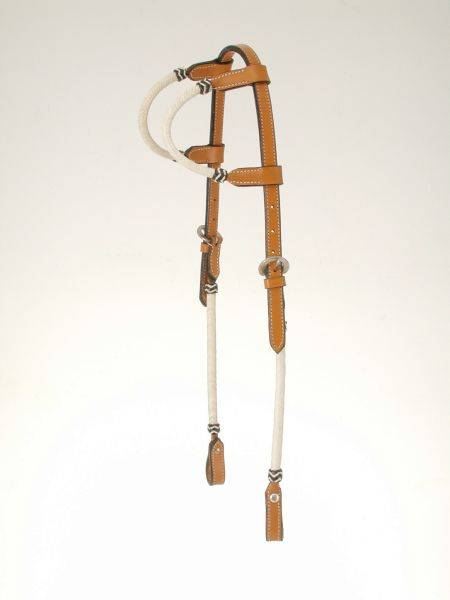 King Series Double Ear Braided Rawhide Headstall