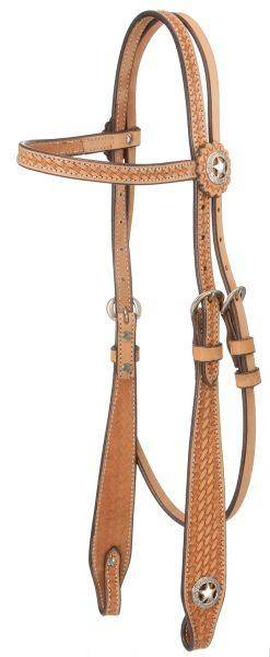 Royal King Flared Basketweave Browband Headstall