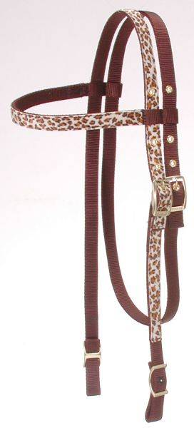 King Series Leopard Print Nylon Browband Headstall