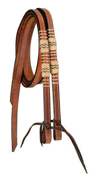 Split Reins With Braided Rawhide