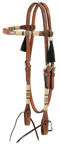 Browband Headstall With Braided Rawhide & Horsehair Tassels