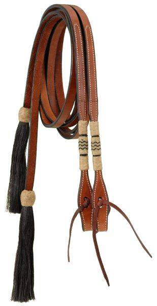 Split Reins With Braided Rawhide & Horsehair Tassels