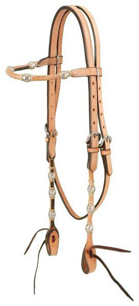 Browband Headstall With Braided Rawhide & Silver Balls