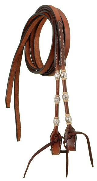 Split Reins With Braided Rawhide & Silver Balls