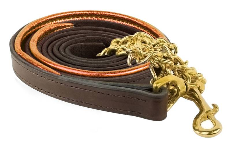 Perri's Metallic Padded Leather Lead with Chain