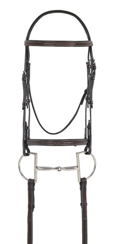 Ovation Fancy Stitch Raised Wide Noseband Padded Bridle with Comfort Crown, Laced Reins