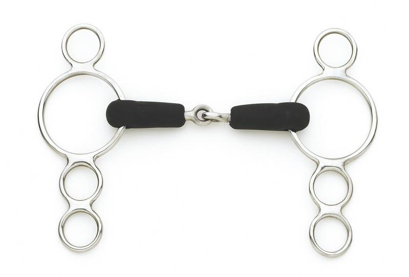 Centaur Stainless Steel Jointed Rubber Mouth 3-Ring Gag
