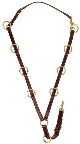 TORY LEATHER English Bridle Leather 10 Ring Martingale - Brass Hardware
