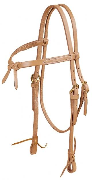 TORY LEATHER Single Ply Brow Knot Headstall - Tie Ends