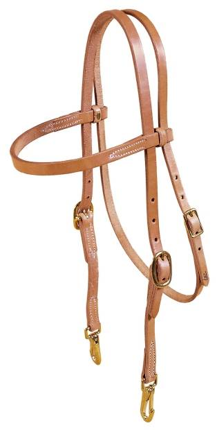TORY LEATHER Browband Single Ply Training Headstall - Brass Snaps