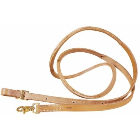 TORY LEATHER Single Ply Roping Reins - Rolled Hand Hold & Brass Hardware