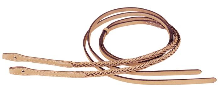 TORY LEATHER Braided Flared Reins - Chicago Screw Bit Ends