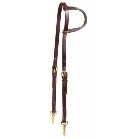 TORY LEATHER Slip Ear Training Headstall - Brass Snap Bit Ends