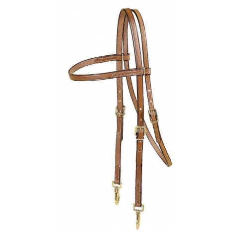 TORY LEATHER Browband Training Headstall - Brass Snap Bit Ends