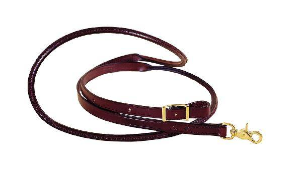 TORY LEATHER Roping Reins - Rolled Hand Hold & Brass Hardware