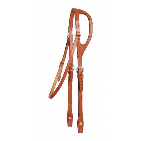 TORY LEATHER Double & Stitched Bridle Leather Shaped Ear Headstall
