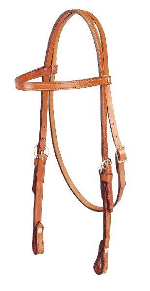 TORY LEATHER Brow Band Double & Stitched Bridle Leather Headstall