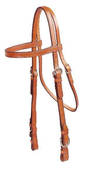 TORY LEATHER Double & Stitched Brow Band Headstall - Buckle Bit Ends