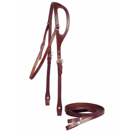 TORY LEATHER 5/8'' Shaped Ear Headstall & Single Ply Reins