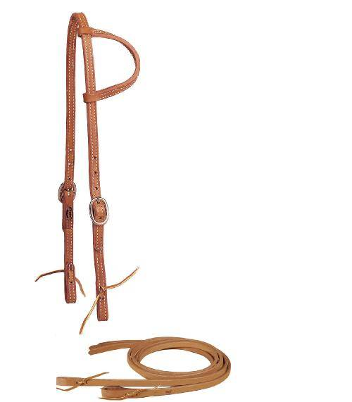 TORY LEATHER Sliding Ear Headstall & Reins - Tie Bit Ends