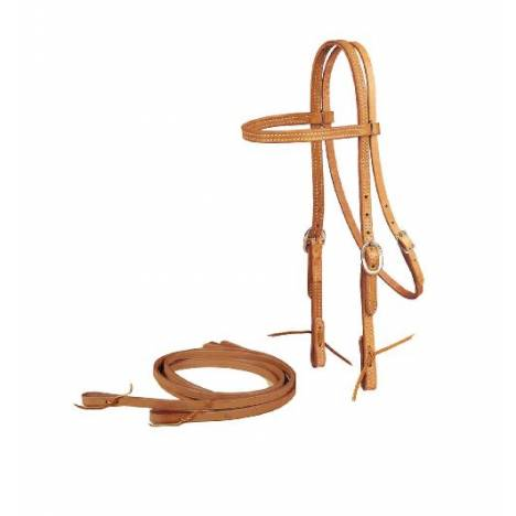 TORY LEATHER Browband Headstall & Reins - Tie Bit Ends