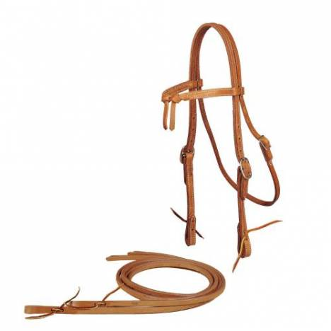 TORY LEATHER Brow Knot Headstall & Reins - Tie Bit Ends