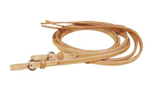 TORY LEATHER Full Double & Stitched Reins - Nickel Buckle Ends