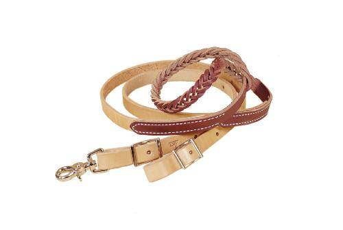 TORY LEATHER Five Plait Braided Hand Hold Reins - Nickel Hardware