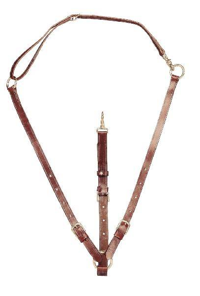 TORY LEATHER Adjustable Training Martingale - Neck Strap & Nickel Hardware