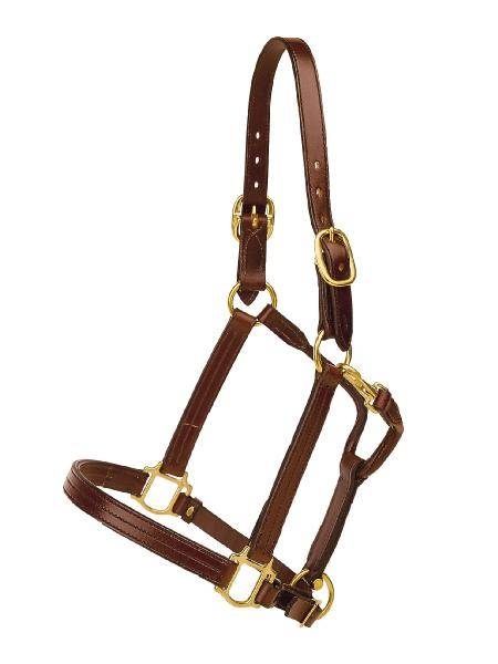 TORY LEATHER Triple Stitched Halter - Snap & Brass Hardware