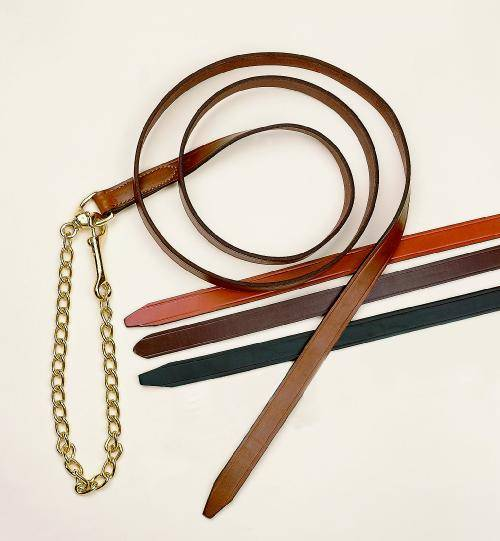 Tory Leather 1'' Single Ply Lead with Nickle Plated Chain