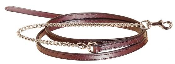 TORY LEATHER Partial Double & Stitched Lead - Nickel Plated Chain