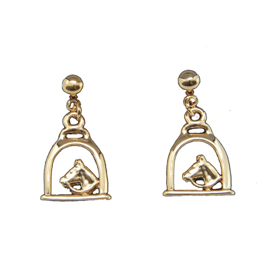 Exselle Stirrup with Horse Head Earrings Gold Plate