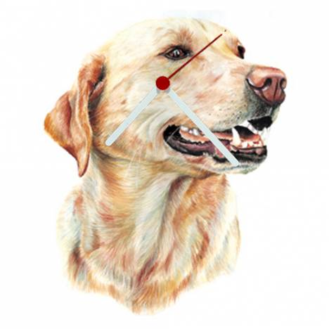 Yellow Lab Head Shaped Clock