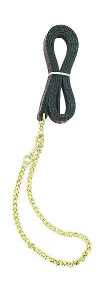 Perri's Leather Lead With Fine 30'' Plated Chain